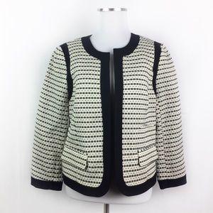 LOFT White Black Embroidered Blazer Suit Jacket